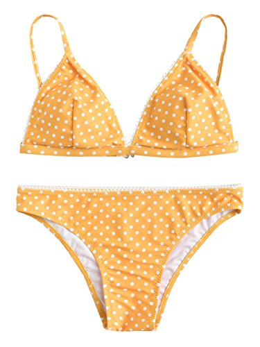 SOLYHUX Mujer Conjunto De Bikini Triangular De Lunares,Ropa de Baño A La Playa,Amarillo Tamaño L