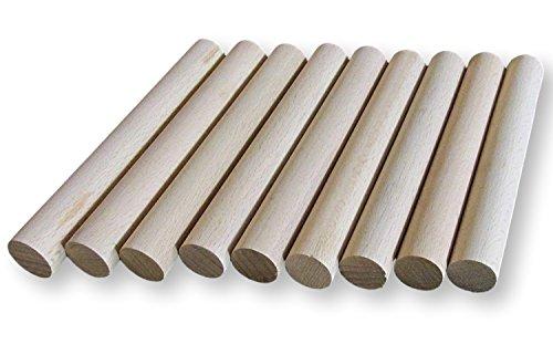 BrilliantBuys 10x Holz Dübel, Craft Sticks 20mm dick, 10cm, 15cm, 30cm lang, 10 cm