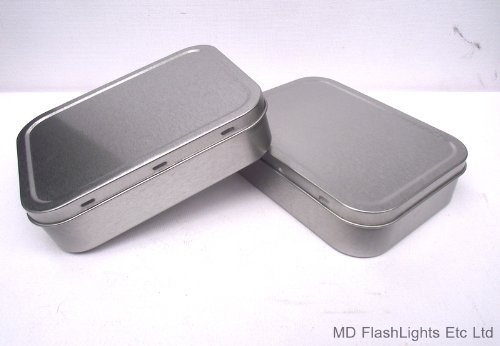 412vKiapTEL - 2 x 2oz SILVER TOBACCO/SURVIVAL KIT TIN WITH RUBBER SEAL