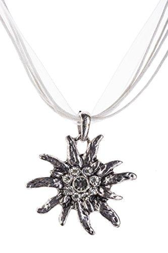 Trachtenkette Edelweiss Trachtenschmuck - Trachten Kette mit feinem Strass in div. Farben - Halskette für Dirndl und Lederhosen (Weiss)