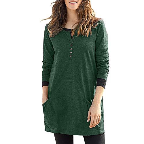 Damen Pullover Oberteile Langarm MYMYG Frau Casual Solid O-Ausschnitt Langarm Rüschen Taschen Top T-Shirt Bluse(Grün,EU:40/CN-XL)