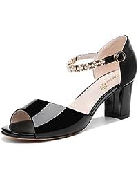 RUGAI-UE Una coppia di talloni e tacchi alti, ladies' sandali, estate tacchi alti e sandali,Black,trentanove
