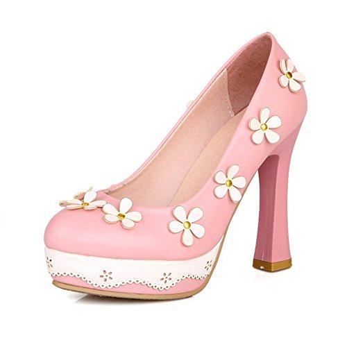 AgooLar Damen PU Hoher Absatz Rund Zehe Rein Ziehen auf Pumps Schuhe, Pink, 40 -