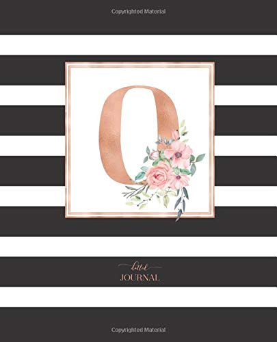"""Dotted Journal: Dotted Grid Bullet Notebook Journal Black and White Stripes Rose Gold Monogram Letter O (7.5"""" x 9.25"""") for Women Teens Girls and Kids"""