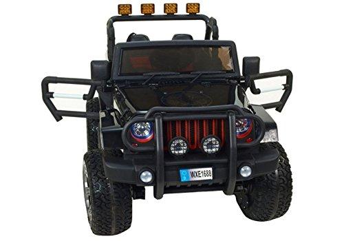 Elektro Kinderauto Elektrisch Ride On Kinderfahrzeug Elektroauto Fernbedienung - Jeep WXE1688 2-Sitzer - Schwarz