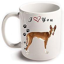 Te amo Perro de Podenco ibicenco Taza de cerámica blanca con impresión en ambos lados, Gran regalo para los amantes del té del café