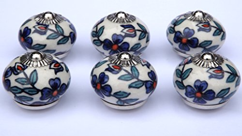 6 x Cream round knobs with Slate Blue flowers and Teal leaves (chrome fittings) ceramic cupboard door knob drawer pull shabby chic handle porcelain by Glass doorknobs and furniture pulls