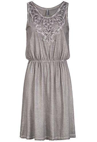 Fresh Made Damen Jersey Kleid LFM-140 Häkelspitze, ohne Ärmel, washed-Look middle grey S (Gehäkelte Mini-kleid)