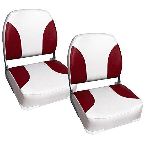 [pro.tec] 2X Bootssitz 41,5x39x51cm Rot Weiß Kapitänsstuhl aus wasserfestem Kunstleder gepolstert UV beständig klappbar Bootsstuhl Steuerstuhl