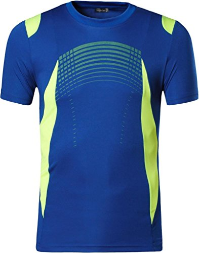 Jeansian Hombres Deportes Wicking Quick Dry Respirable Corriente Training tee T-Shirt Sport Tops LSL194 Navy L