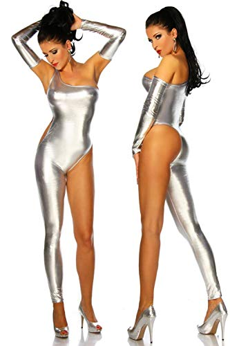 TOOSD underwear Stretch Wet Look Catsuit A Club Wear Silver Leg Perfect for Dance, Dress Up, Cosplay Role Play Party,S -