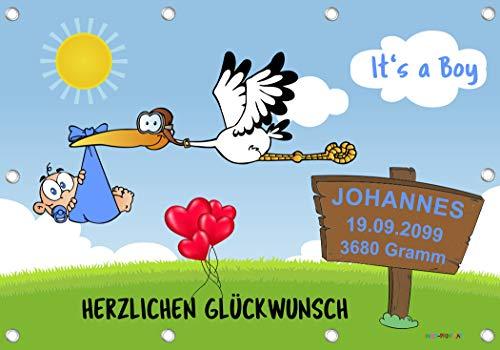 Banner 96x66 cm inklusive 140-teiligem Klebebuchstaben-SET - It's a Boy Babystorch-Banner zur Geburt - JUNGE BLAU - Alternative zum Holzstorch Storch-Holz Klapperstorch BSJ