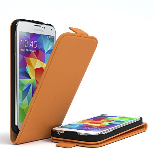 Samsung Galaxy S5 / S5 Neo Hülle - EAZY CASE Premium Flip Case Handyhülle - Schutzhülle aus Leder zum Aufklappen in Hellgrau Orange