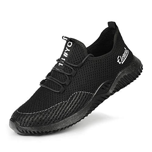 FJJLOVE Scarpe Antinfortunistiche in Acciaio, Scarpe da Ginnastica Unisex in Acciaio Scarpe da Lavoro Antinfortunistiche Leggere Antiscivolo Sneaker da Lavoro indossabili Antiscivolo,B,36