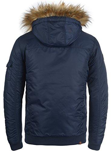 BLEND Egon Herren Winterjacke Jacke mit Kapuze und abnehmbaren Kunstfellkragen aus hochwertiger Materialqualität Navy (70230)