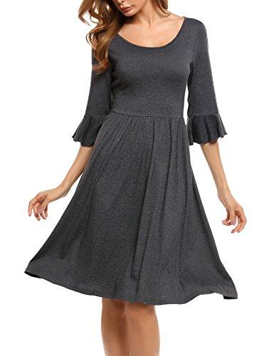 Beyove Damen 3/4 Ärmeln Skaterkleid Jerseykleid Basic Kleid Tailliertes Cocktailkleid Stretch Mit Rüschensaum