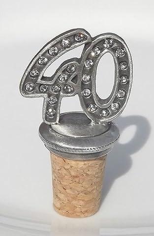 40th Birthday / Anniversary pewter bottle stopper