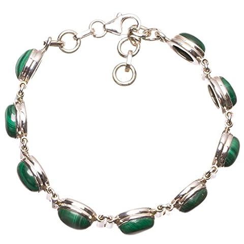 StarGems(tm) Natural Malachite Handmade Indian 925 Sterling Silver Bracelet 6 3/4-7 1/2