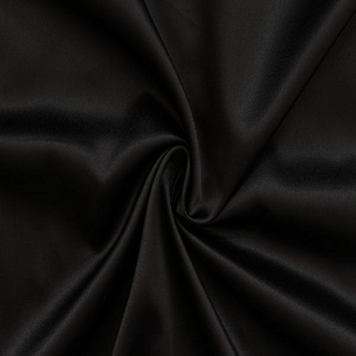 Stretch Satin Stoff Meterware Schwarz