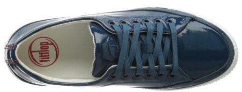 Fitflop Super T Sneaker Patent, Baskets Basses Femme, Noir azul - Diving Blue