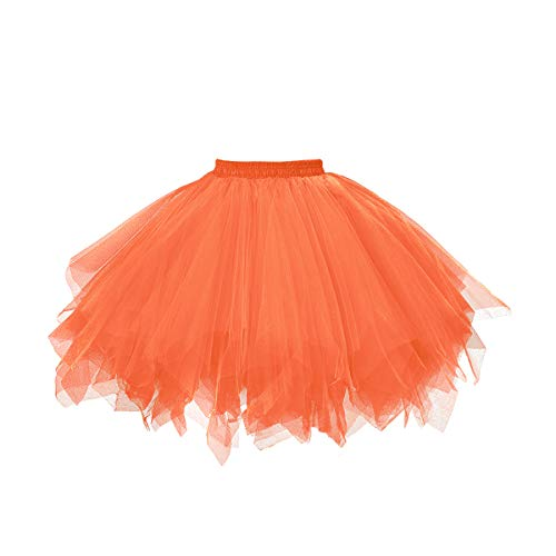 MuseverBrand 50er Vintage Ballet Blase Firt Tulle Petticoat Puffy Tutu Light Orange Small/Medium