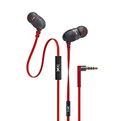 boAt BassHeads 225 In-Ear Super Extra Bass Headphones with One Button Mic (Red)