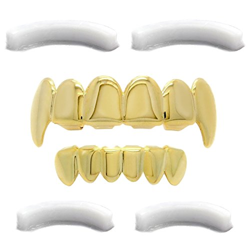 L & L Nation Gold Tone Grillz für Mund Top Bottom Vampirzähne Hip Hop Zähne Set w/4 Silikonen