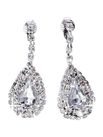 diamante Teardrop Earrings superbe dangle percé longueur des boucles d'oreilles poids 5.5cm 12 Grams