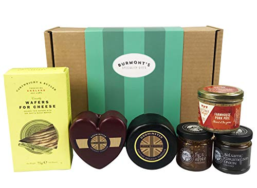 Godminster Organic Cheese Gift Hamper Containing Vintage Cheddar Heart & Black Truffle Cheddar, Two Chutney, Farmhouse Pate & Wafers for Cheese. Hamper Exclusive to Burmont's
