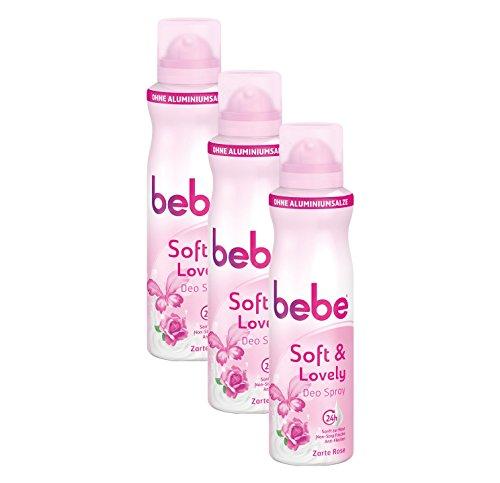 bebe soft & lovely Deo Spray Zarte Rose / Sanftes Deo ohne Aluminium, mit zartem Rosenduft - 24 h zuverlässiger Schutz vor Körpergerüchen / Ohne Flecken / 3 x 150ml