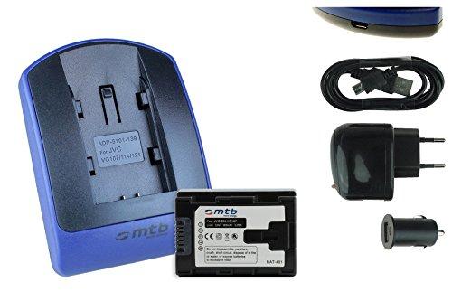 Batteria + Caricabatteria (USB/Auto/Corrente) per JVC BN-VG107 / GZ-GX1 HD500 HD510 HD520 HD620 HM30. v. list