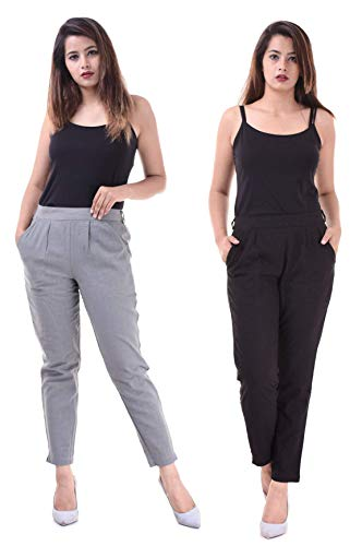 Real Bottom Casual Pants for Women/Slub Cotton Trousers for Women / (Black & Grey) Pants for Women (Pack of 2)
