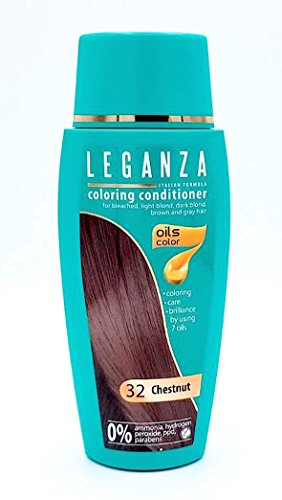 Leganza Coloring Conditioner Color 32 Chestnut with 7 natural oils ammonia and Paraben Free