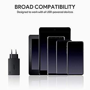 AUKEY Cargador USB de Pared con 3 Puertos USB 30W / 6A con Tecnología AiPower Una Corriente Máxima de 2,4A Cargador Móvil para iPhone X / 8 / 8 Plus, iPad Air / Pro, Samsung, HTC, LG, Nexus y más