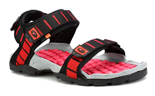 Sparx Men's Black and Red Synthetic Athletic & Outdoor Sandals