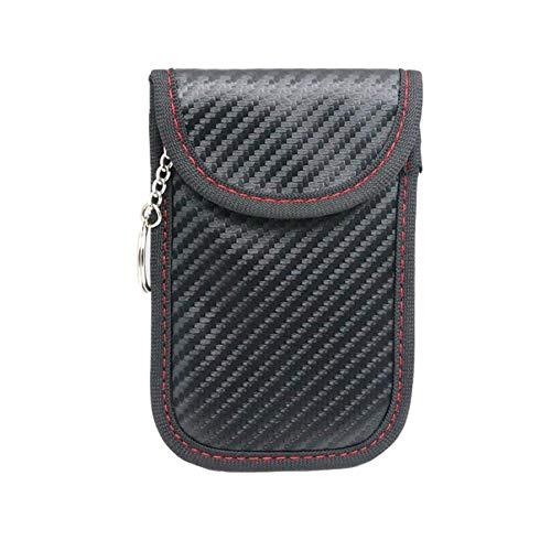 Carbon Fiber Texture Autoschlüssel Signal Blocker Beutel Anti Elektromagnetische Strahlung Anti-Tracking Anti-Spionage Tasche Handy Signal Abschirmbeutel für Autoschlüssel (Handy Anti-strahlung)
