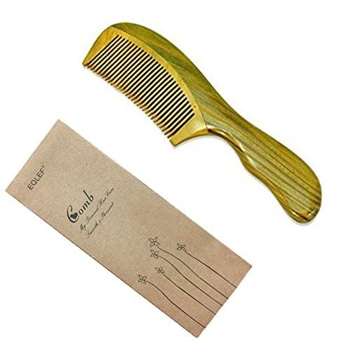 Eqlef® Kamm grün Sandelholz antistatisch handgemacht, Handtaschen-Kamm, Sandelholz-Kamm