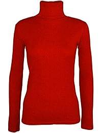 Camiseta de Manga Larga para Plain Acanalado Tortuga Cuello Top para Mujer  Casual Basic Polo Cuello 116cc2297909