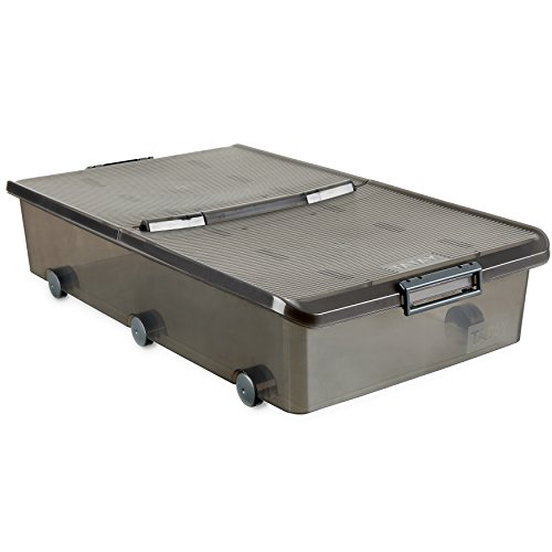 Tatay 1151114 Caja de Almacenamiento Multiusos bajo Cama con Tapa y Ruedas 63 l de Capacidad plástico Polipropileno Libre de bpa, Marrón Translúcido, 45 x 78 x 18 cm