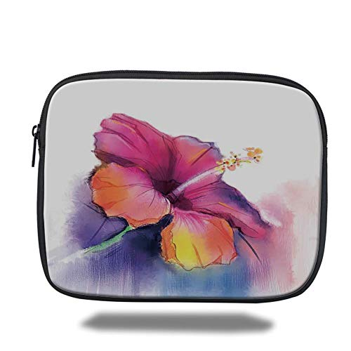 Laptop Sleeve Case,Watercolor Flower Home Decor,Hibiscus Flower in Pastel Abstract Romantic Petal Pattern,Orange Purple,Tablet Bag for Ipad air 2/3/4/mini 9.7 inch - Hibiscus Home Decor