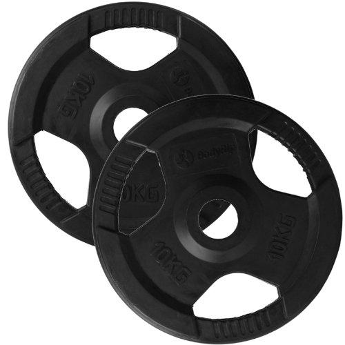 BodyRip Haltère avec revêtement en caoutchouc 2x 10kg Disques d'exercice Fitness
