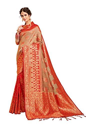 Peegli Saree Sari di Seta di Arte Etnica Indiana di Lino Donne Rosse Sari Tessuti Tradizionali con Pezzo di Camicetta Non Cucita