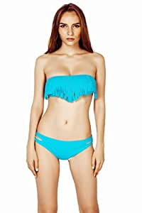 Thinkbay® 2pcs Padded Boho Fringe Bandeau Bikini, Strapless Tassels Top and Low Rise Bottoms, Solid 9 NEW colors Swimwear FREE SHIPPING (Turquoise, Tag S: (UK 6-8))