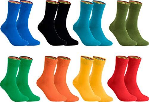 gigando - Socken Herren Baumwolle Uni Farben 4er oder 8er Pack in Premiumqualität - Strümpfe für Anzug, Business und Freizeit - olive, orange, schwarz, blau, rot, gelb, petrol, grün Gr. 43-46