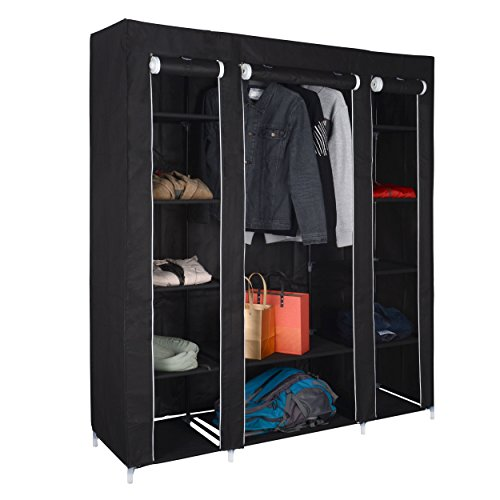 Hive Black Canvas Wardrobe by [HARIMA] | 3 Door Fabric Wardrobe and Organiser with Clothes Rail | Bedroom Furniture for Storage | With FREE 5 Clothes Hanger | 175 x 150 x 45 cm (H x W x D)