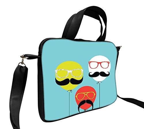 Snoogg Movember Ballon 35,6cm Zoll auf 36,8cm Zoll auf 37,1cm Zoll Kunstleder Laptop Notebook Schuber Sleeve, der Fall mit und Schultergurt für MacBook Pro Acer Asus Dell HP Sony Toshiba