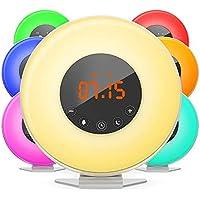 Despertador de Luz (Versión Actualizada), Simulación de Amanecer y Puesta de Sol, Wake Up Light, Control Táctil, 7 Colores Ajustables, 7 Sonidos Naturales y 10 Intensidades de Luz, Radio FM, Función de Snooze, Cargador de USB, Color Blanco