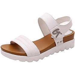 Sandalias Bohemia mujer, Manadlian Sandalias de verano para mujer Moda Zapatos comodos Sandalias planas Playa Zapatos de tacón alto Zapatos de boda