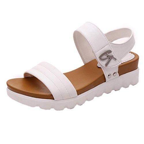 Sandalias mujer, Manadlian Sandalias de verano para mujer Moda Zapatos comodos Sandalias planas Playa (CN 35, Blanco)