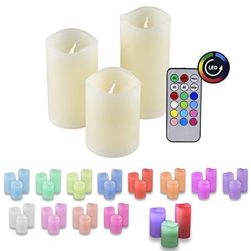 Preisvergleich Produktbild LED Echtwachs Kerzen RGB Farbwechsel 3er Set mit Fernbedienung und Timer